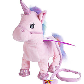cheap Stuffed Animals-Talking Stuffed Animals Plush Toy Electric Toys Plush Dolls Stuffed Animal Plush Toy Unicorn Animals Singing Walking Cotton / Polyester PP+ABS 35cm Imaginative Play, Stocking, Great Birthday Gifts