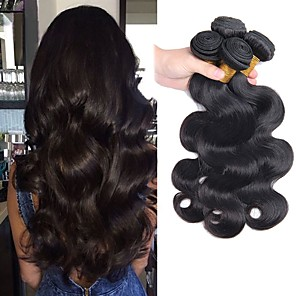 cheap Human Hair Weaves-4 Bundles Hair Weaves Peruvian Hair Body Wave Human Hair Extensions Remy Human Hair 100% Remy Hair Weave Bundles Natural Color Hair Weaves / Hair Bulk Human Hair Extensions 8-28 inch Natural Color