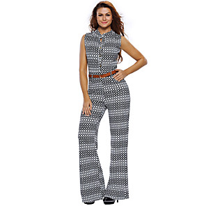 cheap Historical & Vintage Costumes-Hippie Disco Retro Vintage 1960s Hippie 1970s Disco Outfits Women's Spandex Cotton Costume Black with White Vintage Cosplay Sleeveless / Leotard / Onesie / Leotard / Onesie
