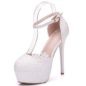 cheap Wedding Shoes-Women's Lace / PU(Polyurethane) Spring & Summer Sweet Wedding Shoes Platform Round Toe Satin Flower / Buckle White