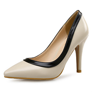 cheap Women's Heels-Women's Heels Pumps Pointed Toe Daily Office & Career Leather Almond / White