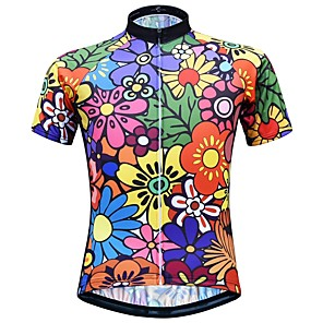 cheap Historical & Vintage Costumes-JESOCYCLING Women's Short Sleeve Cycling Jersey Black Floral Botanical Bike Jersey Top Mountain Bike MTB Road Bike Cycling Breathable Quick Dry Moisture Wicking Sports Clothing Apparel / Stretchy