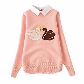 cheap Women's Boots-Kids Girls' Street chic Print Long Sleeve Regular Sweater & Cardigan Blue