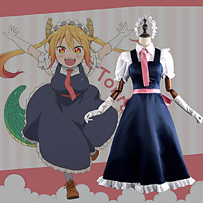 cheap Anime Costumes-Inspired by Miss Kobayashi's Dragon Maid Cosplay Anime Cosplay Costumes Japanese Cosplay Suits Patchwork Dress Gloves Tie For Men's Women's / Hair Band / Hair Band / Satin