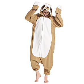 cheap Kigurumi Pajamas-Adults' Kigurumi Pajamas Sloth Onesie Pajamas Polar Fleece Brown Cosplay For Men and Women Animal Sleepwear Cartoon Festival / Holiday Costumes