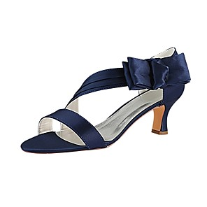 cheap Wedding Shoes-Women's Satin Summer Wedding Shoes Chunky Heel Open Toe Bowknot Dark Blue / Party & Evening