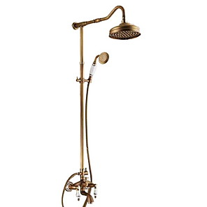cheap Shower Faucets-Retro Vintage Shower Faucet - Oil-rubbed Bronze Antique Brass Shower System Ceramic Valve Bath Shower Mixer Taps / Two Handles Three Holes