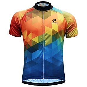 cheap Cycling Jerseys-JESOCYCLING Men's Short Sleeve Cycling Jersey Blue+Yellow Bike Jersey Top Breathable Moisture Wicking Quick Dry Sports 100% Polyester Mountain Bike MTB Road Bike Cycling Clothing Apparel / Stretchy