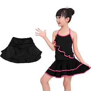 cheap Kids' Dancewear-Latin Dance Skirts Sashes / Ribbons Tiered Girls' Training Performance Natural Elastane Lycra