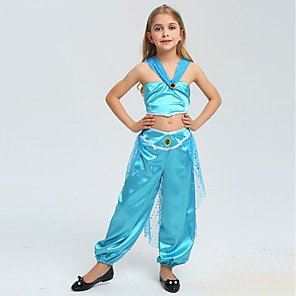 cheap Movie & TV Theme Costumes-Princess Jasmine Cosplay Costume Flower Girl Dress Kids Girls' A-Line Slip Cute Christmas Halloween Children's Day Festival / Holiday Blue / Blue (With Accessories) Easy Carnival Costumes Sequin
