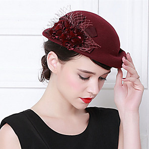 cheap Historical & Vintage Costumes-Elizabeth Audrey Hepburn Women's Adults' Ladies Retro Vintage Cloche Hat Fascinator Hat Black Red Coffee Flower Wool Headwear Lolita Accessories