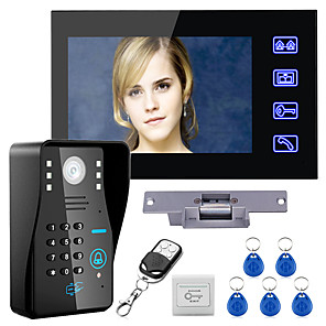 cheap Video Door Phone Systems-Wired 7 inch Hands-free One to One Video Doorphone Doorbell 960*480 Intercom System Kit Electric Strike Lock Wireless Remote Control Unlock Remote Control for Access Control System