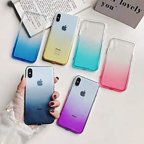 cheap iPhone Cases-Case For Apple iPhone XS / iPhone XR / iPhone XS Max Translucent Back Cover Color Gradient Soft TPU