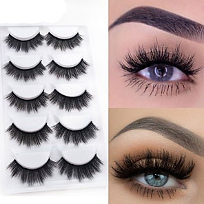 cheap Blush-Eyelash Extensions 10 pcs Natural Best Quality 3D Lightweight Beauty Cute Animal wool eyelash Christmas Gifts Party Halloween Full Strip Lashes Crisscross Thick - Makeup Daily Makeup Glamorous