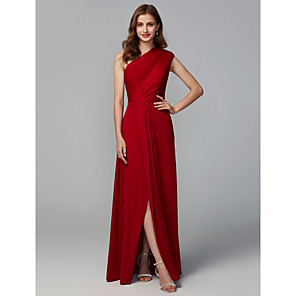 cheap Bridesmaid Dresses-A-Line One Shoulder Floor Length Jersey Bridesmaid Dress with Ruching