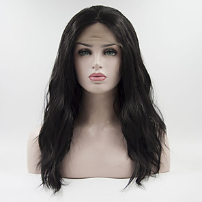 cheap Synthetic Lace Wigs-Synthetic Lace Front Wig Curly Free Part Lace Front Wig Long Black#1B Synthetic Hair 18-26 inch Women's Adjustable Heat Resistant Elastic Black