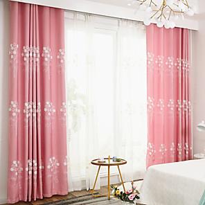 cheap Curtains Drapes-Two Panel Pastoral Style Embroidered Curtains For Living Room Bedroom Dining Room Study Children Room Curtains