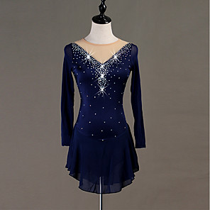cheap Prom Dresses-Figure Skating Dress Crystals / Rhinestones Women's Girls' Training Long Sleeve High Chinlon Tulle