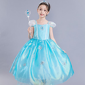 cheap Movie & TV Theme Costumes-Frozen Elsa Cosplay Costume Flower Girl Dress Kid's Girls' A-Line Slip Dresses Mesh Christmas Halloween Carnival Festival / Holiday Silk Organza Blue Easy Carnival Costumes Lace / Cotton