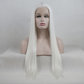 cheap Synthetic Lace Wigs-Synthetic Lace Front Wig Straight Kardashian Free Part Lace Front Wig Long Creamy-white Synthetic Hair 18-26 inch Women's Adjustable Lace Heat Resistant White