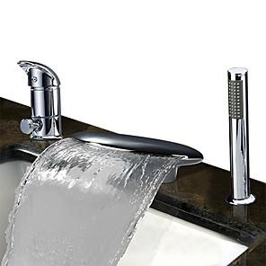 cheap Bathtub Faucets-Bathtub Faucet - Contemporary Chrome Roman Tub Ceramic Valve Bath Shower Mixer Taps / Stainless Steel / Single Handle Three Holes