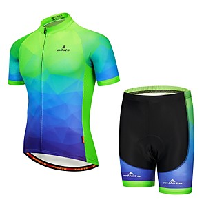 cheap Cycling Jersey & Shorts / Pants Sets-Miloto Men's Short Sleeve Cycling Jersey with Shorts Navy Blue Bike Padded Shorts / Chamois Clothing Suit Reflective Strips Sports Mountain Bike MTB Clothing Apparel / Stretchy