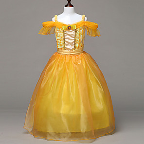 cheap Movie & TV Theme Costumes-Belle Cosplay Costume Flower Girl Dress Kid's Girls' A-Line Slip Dresses Christmas Halloween Carnival Festival / Holiday Tulle Cotton Yellow Carnival Costumes Princess