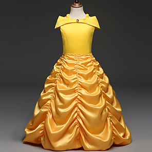 cheap Movie & TV Theme Costumes-Belle Cosplay Costume Flower Girl Dress Kid's Girls' A-Line Slip Dresses Christmas Halloween Carnival Festival / Holiday Cotton Polyster Yellow Carnival Costumes Solid Colored