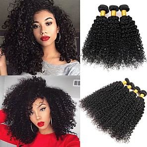 cheap Clip in Hair Extensions-3 Bundles Peruvian Hair Kinky Curly Human Hair Unprocessed Human Hair 150 g Headpiece Natural Color Hair Weaves / Hair Bulk Hair Care 8-28 inch Natural Color Human Hair Weaves Soft Sexy Lady Best