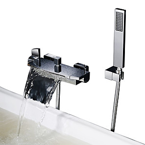 cheap Bathtub Faucets-Shower Faucet Bathtub Faucet with Handled Shower Head- Contemporary Chrome Tub And Shower Ceramic Valve Bath Shower Mixer Taps / Two Handles Two Holes