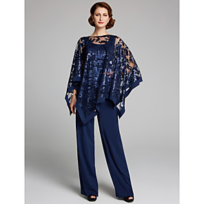 cheap Coaster Favors-Pantsuit / Jumpsuit Mother of the Bride Dress Elegant Plus Size Sparkle & Shine Scoop Neck Floor Length Chiffon Sequined Sleeveless with Lace Sequin 2020