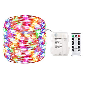 cheap LED String Lights-1PC 10M 100 LED Fairy Lights Battery Operated String Lights Waterproof 8 Modes Fairy String Lights with Remote and Timer Firefly Lights Christmas Decor Christmas Lights Multi Color
