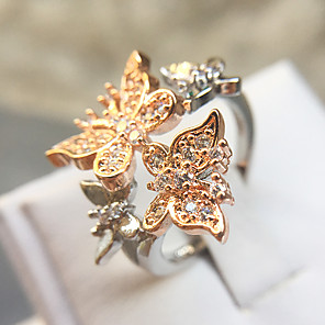 cheap Rings-Women's Statement Ring Ring Cubic Zirconia 1pc Rose Gold Copper Platinum Plated Rose Gold Plated Romantic Fashion Elegant Gift Evening Party Jewelry Classic Butterfly Lovely / Imitation Diamond