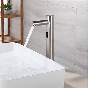 cheap Bathroom Sink Faucets-Touchless Bathroom Sink Faucet - Stainless Steel Free Standing Hands free One HoleBath Taps / Brass