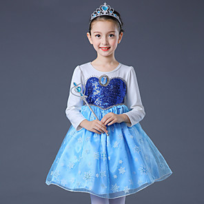 cheap Movie & TV Theme Costumes-Elsa Cosplay Costume Flower Girl Dress Kid's Girls' A-Line Slip Dresses Christmas Halloween Carnival Festival / Holiday Tulle Cotton Blue / Pink Carnival Costumes Princess