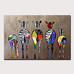cheap Framed Arts-Oil Painting Hand Painted Abstract / Pop Art Modern Rolled Canvas Rolled Without Frame