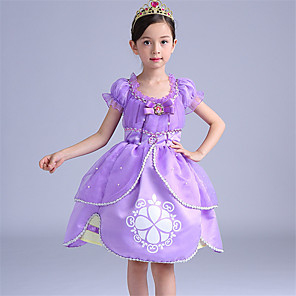 cheap Movie & TV Theme Costumes-Sofia Dress Flower Girl Dress Kids Girls' A-Line Slip Cartoon Cute Christmas Halloween Children's Day Festival / Holiday Light Purple Easy Carnival Costumes Princess