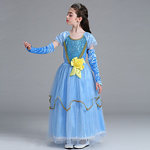cheap Movie & TV Theme Costumes-Elsa Cosplay Costume Flower Girl Dress Kid's Girls' A-Line Slip Dresses Christmas Halloween Carnival Festival / Holiday Tulle Cotton Blue Carnival Costumes Princess / Sleeves / Sleeves