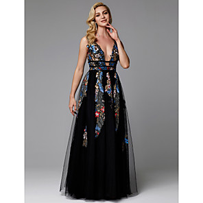 cheap Prom Dresses-A-Line Floral Black Prom Formal Evening Dress V Neck Sleeveless Floor Length Lace Tulle with Embroidery Appliques 2020