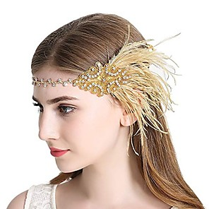 cheap Historical & Vintage Costumes-The Great Gatsby Charleston Vintage 1920s The Great Gatsby Roaring 20s Headpiece Flapper Headband Women's Tassel Costume Head Jewelry Black / Golden Vintage Cosplay Party Prom / Headwear / Headwear