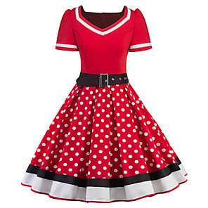 cheap Historical & Vintage Costumes-Audrey Hepburn Polka Dots Retro Vintage 1950s Dress Women's Costume Black / Red Vintage Cosplay Half Sleeve Knee Length / Waist Belt / Waist Belt