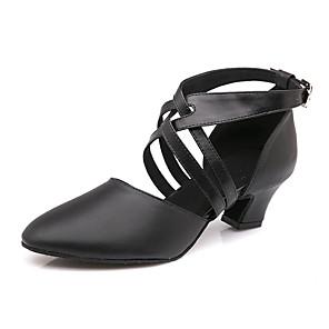 cheap Smartwatches-Women's Modern Shoes Heel Sneaker Cuban Heel Cowhide Buckle Black / Performance / Practice