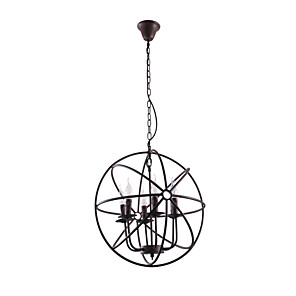 cheap Women's Sandals-1-Light 50 cm Candle Style Chandelier Metal Globe Painted Finishes Rustic / Lodge 110-120V / 220-240V