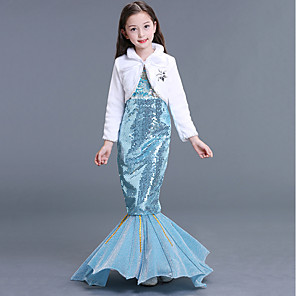 cheap Movie & TV Theme Costumes-The Little Mermaid Aqua Princess Dress Flower Girl Dress Kid's Girls' A-Line Slip Mermaid and Trumpet Gown Slip Halloween Carnival Masquerade Festival / Holiday Sequin Terylene LightBlue Carnival