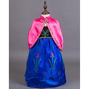 cheap Movie & TV Theme Costumes-Princess Fairytale Anna Dress Cloak Flower Girl Dress Kid's Girls' A-Line Slip Dresses Cover Up Birthday Christmas Halloween Masquerade Festival / Holiday Silk / Cotton Blend Blue Carnival Costumes