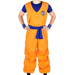 cheap Anime Costumes-Inspired by Dragon Ball Son Goku Anime Cosplay Costumes Japanese Cosplay Suits Letter Top Pants Belt For Men's Women's