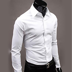 cheap Outdoor IP Network Cameras-Men's Shirt Solid Colored Tops Business Basic Wine White Black