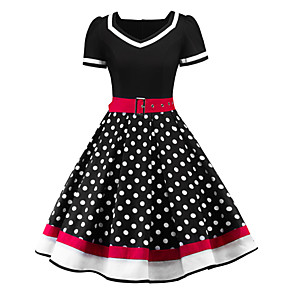 cheap Historical & Vintage Costumes-Audrey Hepburn Polka Dots Retro Vintage 1950s Summer Dress Women's Costume Black / Red Vintage Cosplay Short Sleeve Knee Length