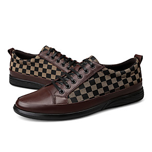 cheap Men's Sneakers-Men's Dress Shoes Canvas / Nappa Leather Spring &  Fall Classic / British Sneakers Non-slipping Black / Brown / White / Party & Evening / Party & Evening / Comfort Shoes