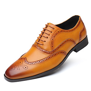 cheap Building Blocks-Men's Business / Baroque Wedding Party & Evening Oxfords Walking Shoes Leather Height-increasing Light Brown / Black / Yellow